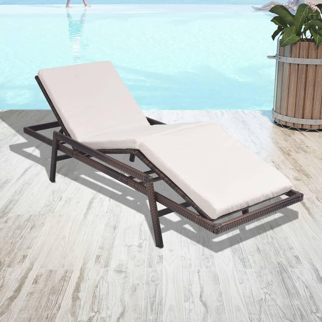 vidaxl sonnenliege verstellbar poly rattan braun gartenliege relaxliege liege ebay. Black Bedroom Furniture Sets. Home Design Ideas