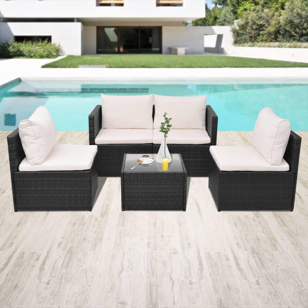 vidaxl garden sofa set 13 piece poly rattan wicker brown black patio