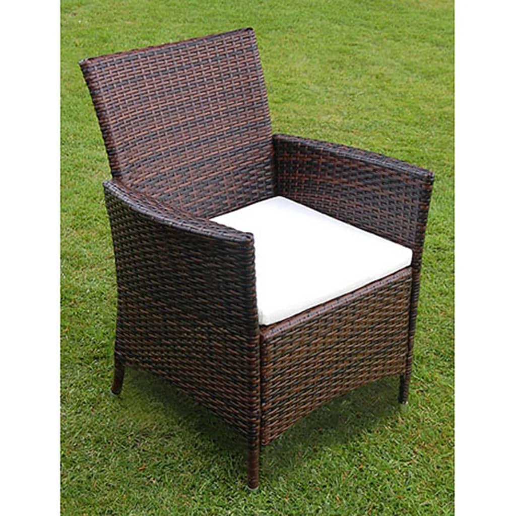 vidaxl 17 teiliges gartenm bel set poly rattan braun. Black Bedroom Furniture Sets. Home Design Ideas