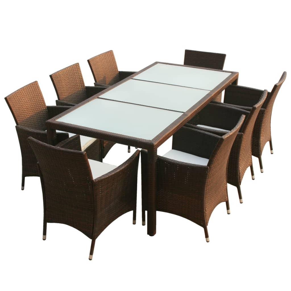 Vidaxl conjunto de muebles de jard n 17 piezas poli rat n for Conjunto muebles jardin oferta