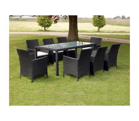 acheter vidaxl ensemble de mobilier de jardin 17 pi ces rotin synth tique noir pas cher. Black Bedroom Furniture Sets. Home Design Ideas