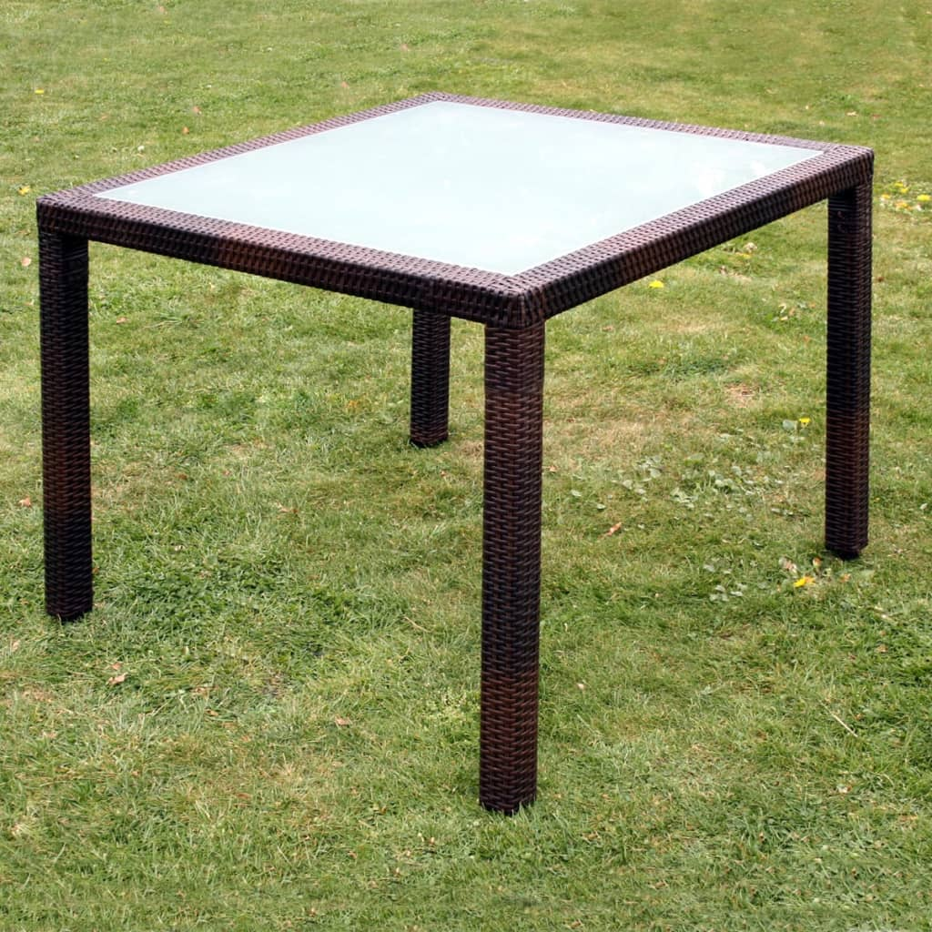 vidaxl gartenm bel 9 tlg poly rattan braun sitzgruppe essgruppe gartengarnitur ebay. Black Bedroom Furniture Sets. Home Design Ideas