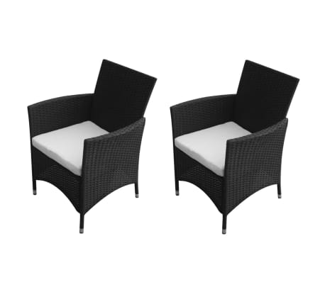 vidaXL x2 Garden Chairs Poly Rattan Wicker Black Chairs Outdoor Furniture Seat  sc 1 st  eBay : woven garden chairs - Cheerinfomania.Com