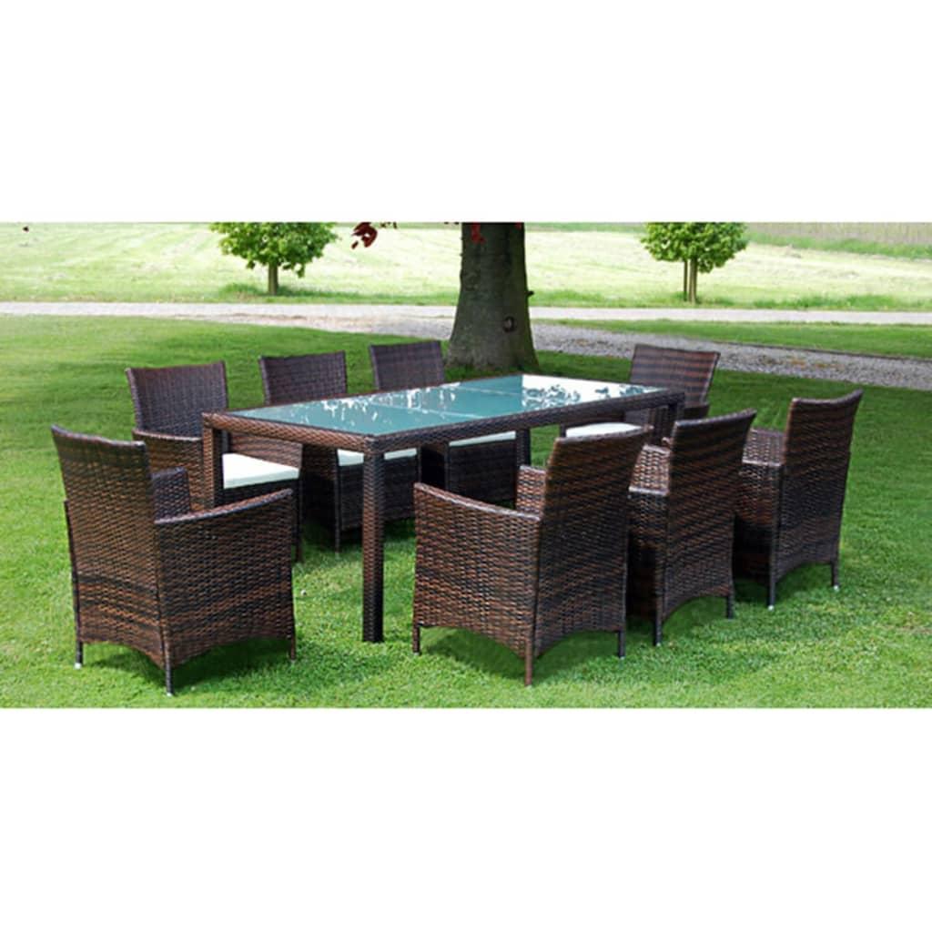 vidaXL-17-Piece-Outdoor-Garden-Furniture-Set-Chairs-Table-Poly-Rattan-Brown
