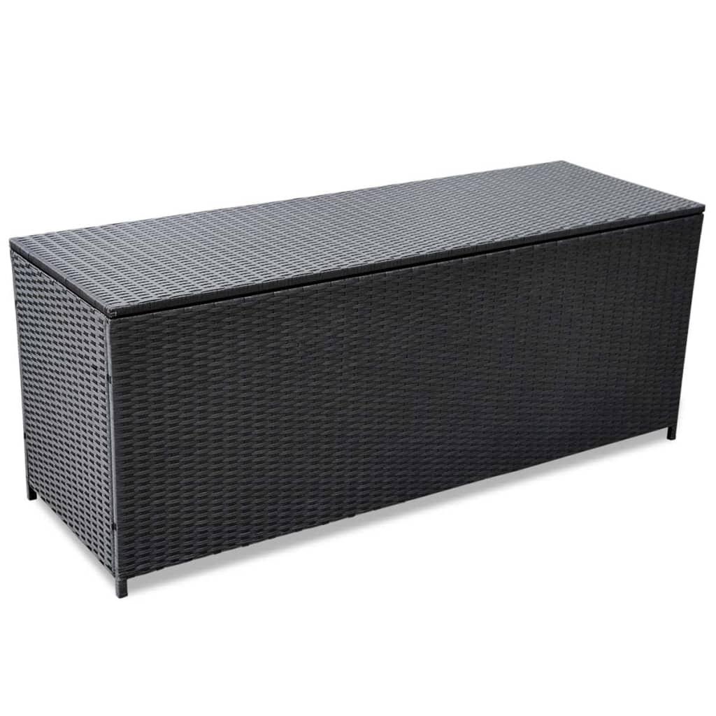 Afbeelding van vidaXL Opslagkist voor buiten poly rattan zwart 150x50x60 cm