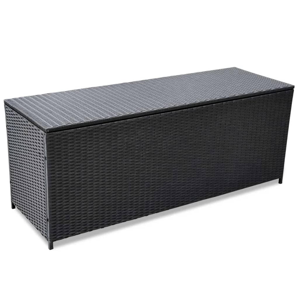 vidaXL kültéri poli rattan tároló doboz 150x50x60 cm fekete