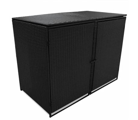 vidaxl m lltonnenbox f r 2 tonnen poly rattan schwarz 148 x 80 x 111 cm g nstig kaufen. Black Bedroom Furniture Sets. Home Design Ideas
