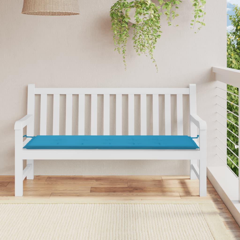 vidaxl coussin de banc de jardin bleu 150x50x3 cm coussin extérieur