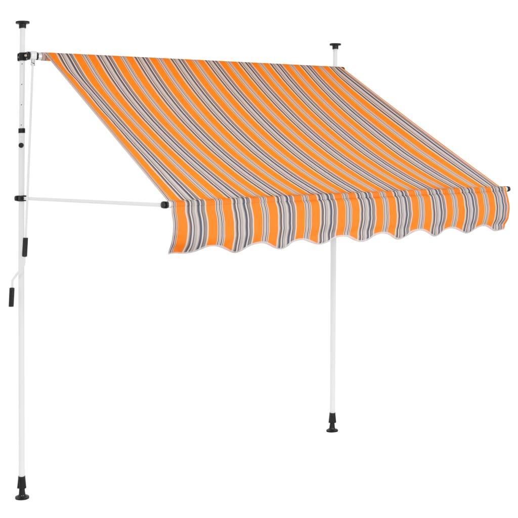 vidaXL manuális, feltekerhető napellenző kék-sárga csíkokkal, 150 cm