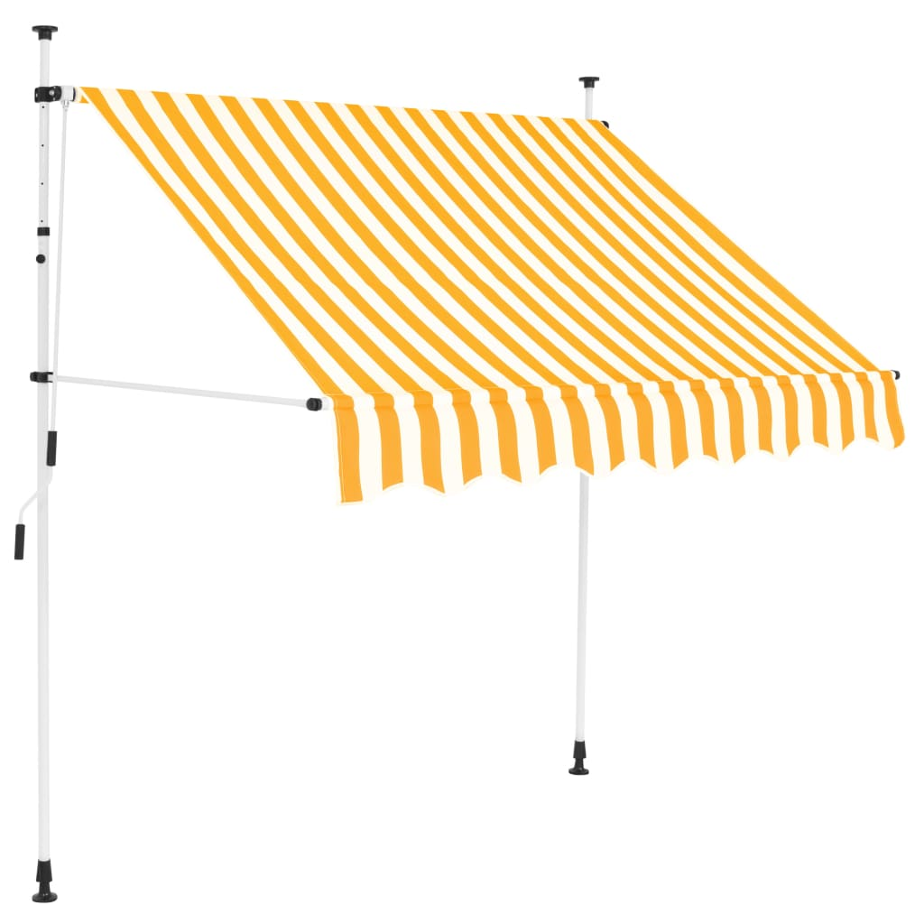 vidaXL kézzel feltekerhető napellenző sárga-fehér csíkokkal, 150 cm