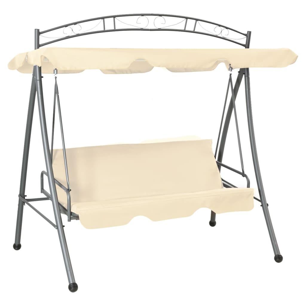 Afbeelding van vidaXL Schommelstoel voor buiten met luifel en versiering zandwit