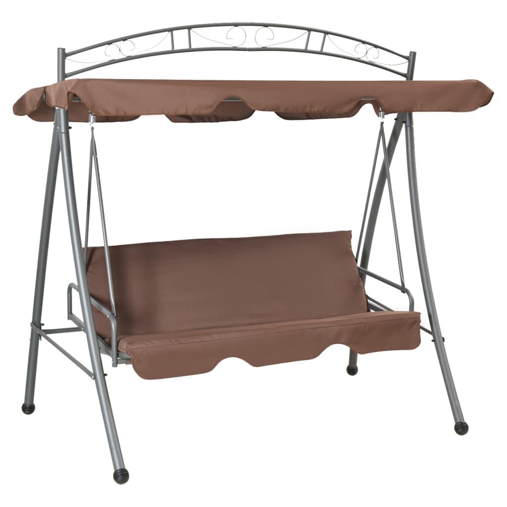 Afbeelding van vidaXL Schommelstoel voor buiten met luifel en versiering koffiekleur