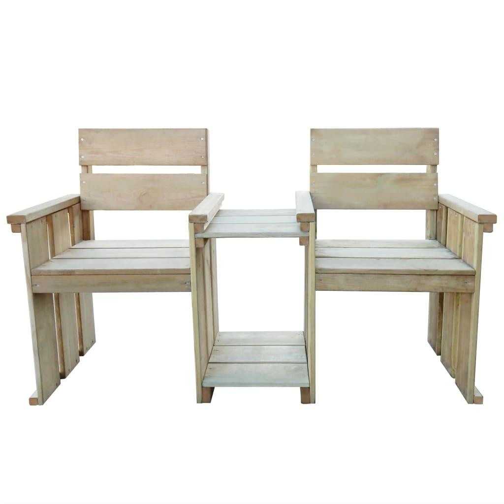 VIDAXL GARTENBANK LOVESEAT mit Tisch 150x55x89cm Kiefernholz ...