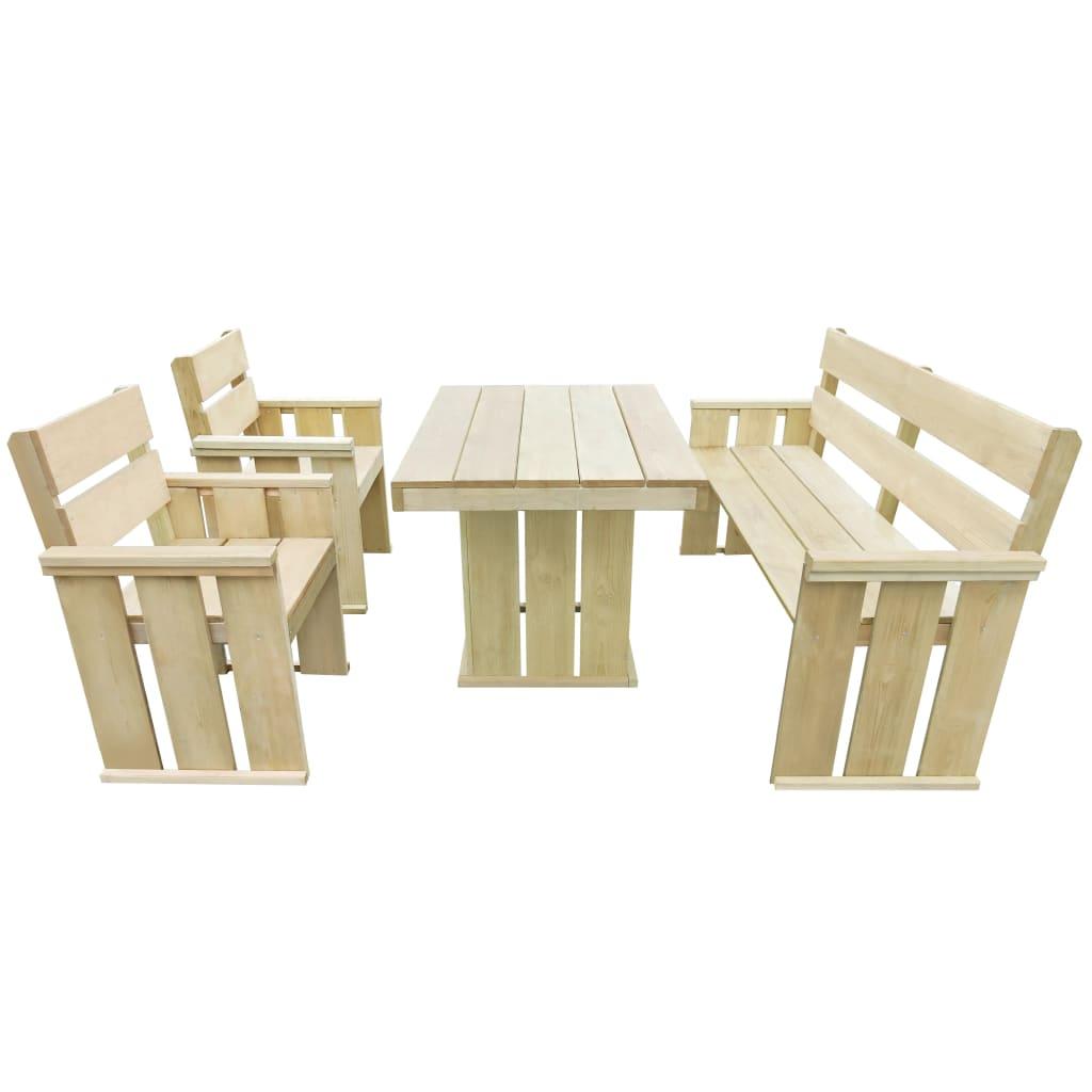 vidaXL 4-részes impregnált fenyőfa étkezőasztal és székgarnitúra