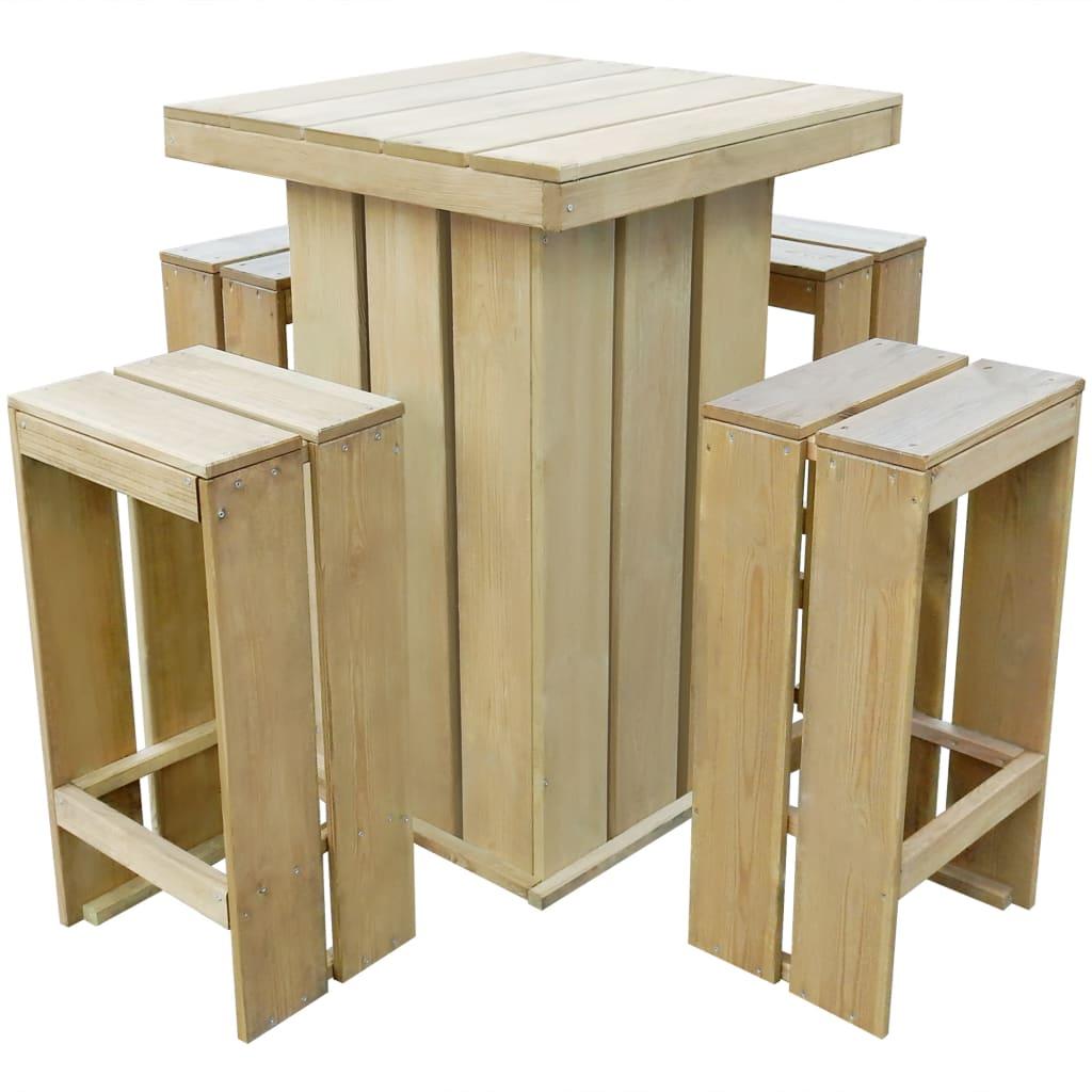 vidaXL Zestaw mebli barowych do ogrodu, 5 części, impregnowane drewno