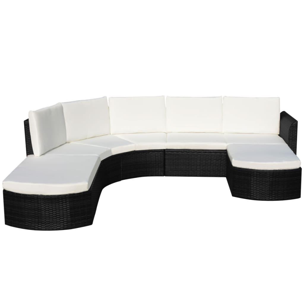 Vidaxl Outdoor Sofa Set Wicker Poly Rattan Black Garden Lounge Set