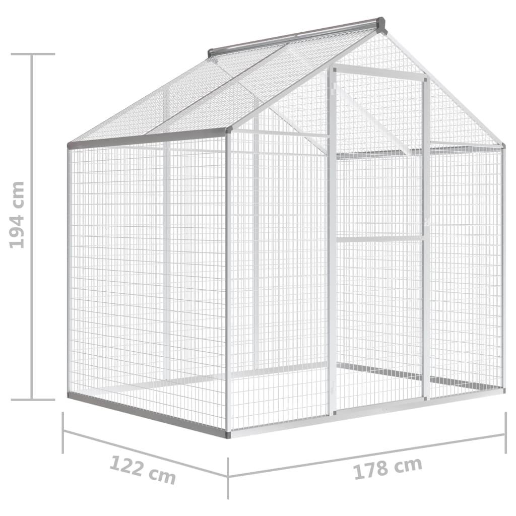 vidaxl voliere alu 188x122x194cm vogelvoliere vogelhaus. Black Bedroom Furniture Sets. Home Design Ideas
