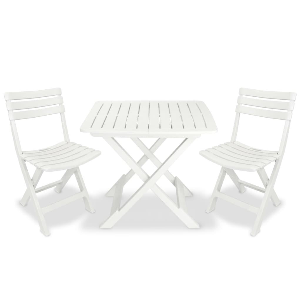 vidaXL Zestaw mebli bistro do ogrodu, 3 części, z plastiku, biały