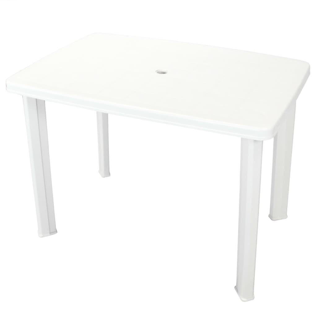 vidaXL Stół ogrodowy, plastik, biały, 101 x 68 72 cm