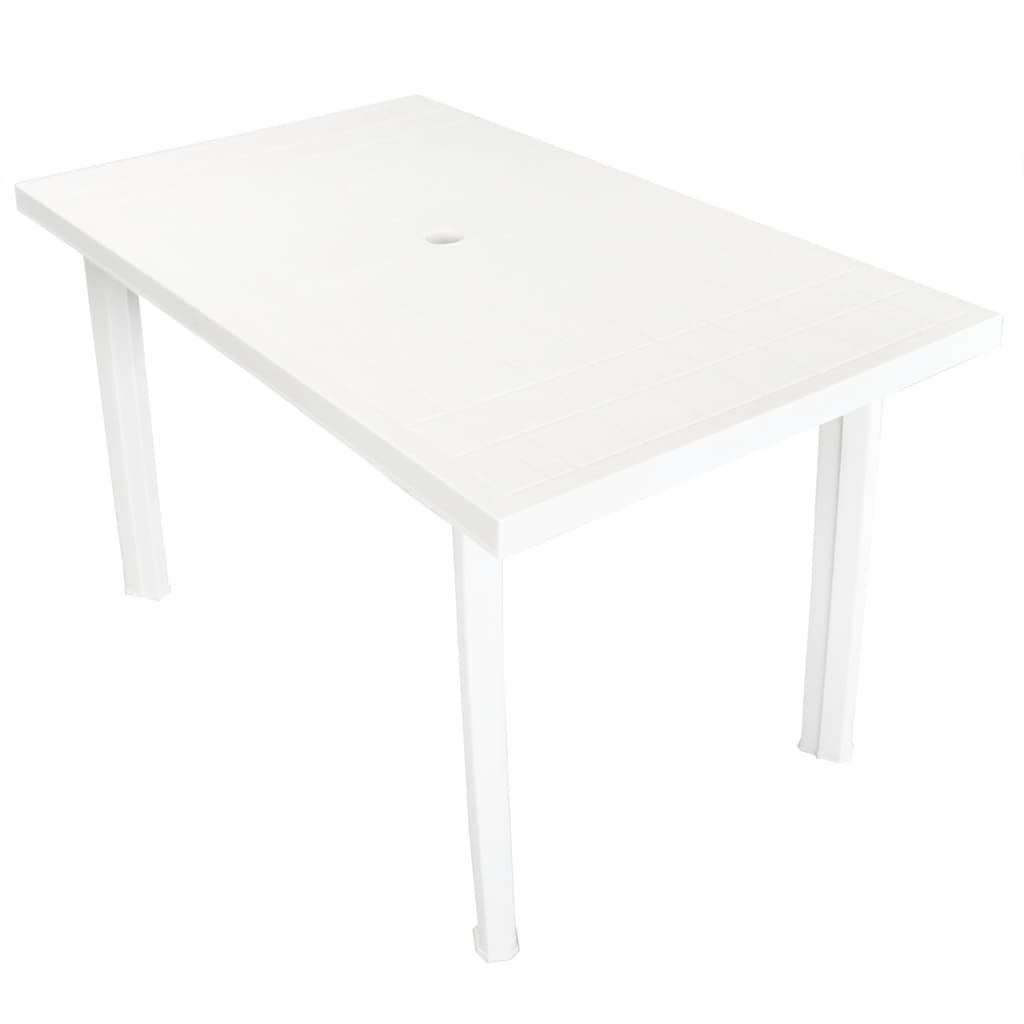 vidaXL fehér műanyag kerti asztal 126 x 76 72 cm