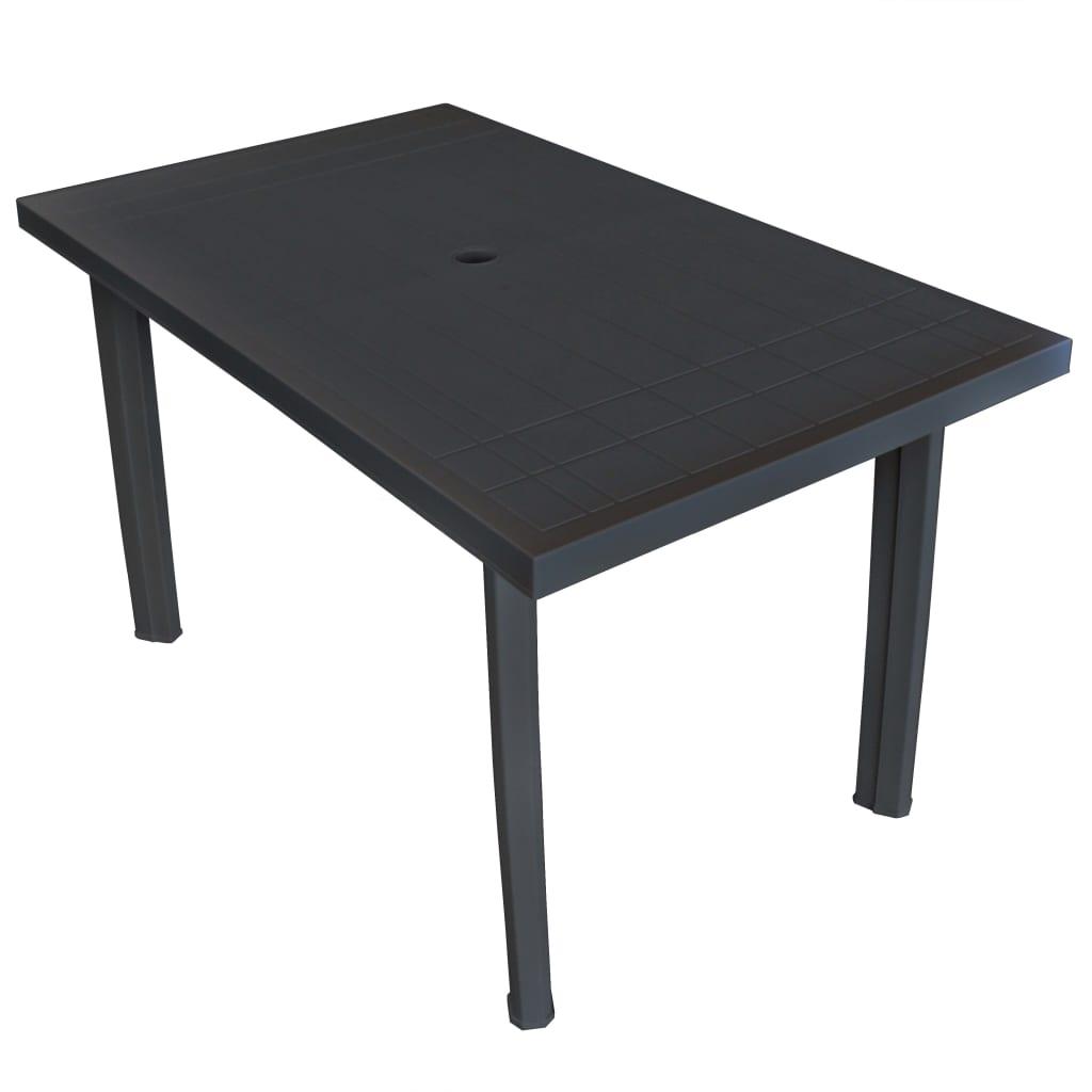 vidaXL Stół ogrodowy, plastik, antracytowy, 126 x 76 72 cm