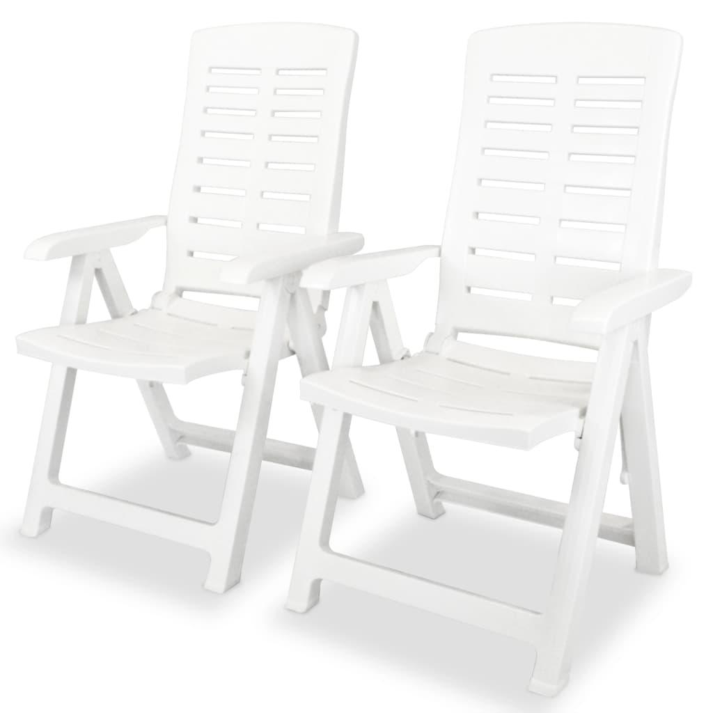 vidaXL 2 db fehér, dönthető, műanyag kerti szék 60 x 61 108 cm