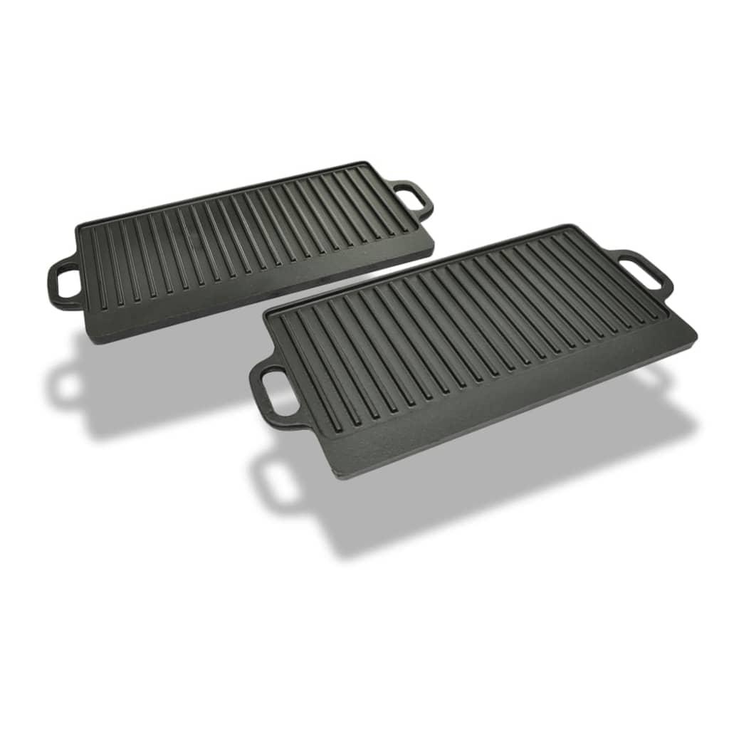 vidaXL Grill BBQ Plate öntöttvas tál reverzibilis 2db Szett