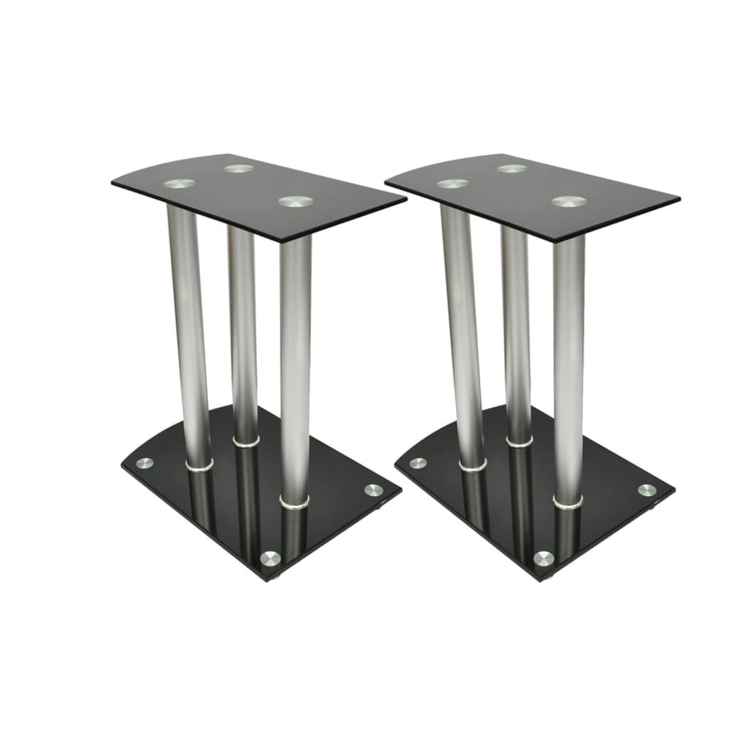 Afbeelding van vidaXL Speaker standaard Vocal set van 2 zwart glas