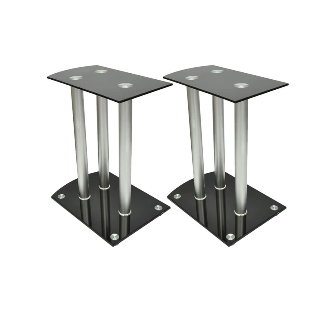 vidaXL Alumínium Hangfal állványok Fekete üveg 2db