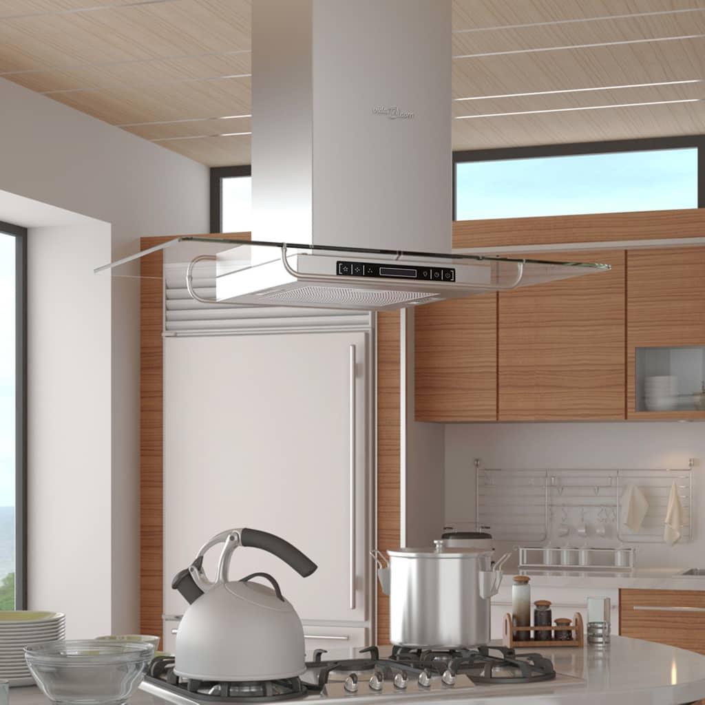vidaXL Cappa da Cucina Aspirante ad Isola in Acciaio Inox con Display LCD☺