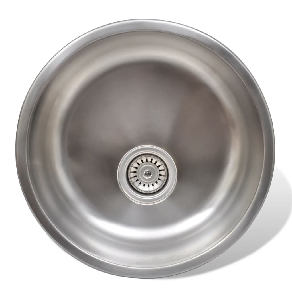 New-High-Quality-Round-Sink-Stainless-Steel-43cm-With-Drain-Kitchen-Sink