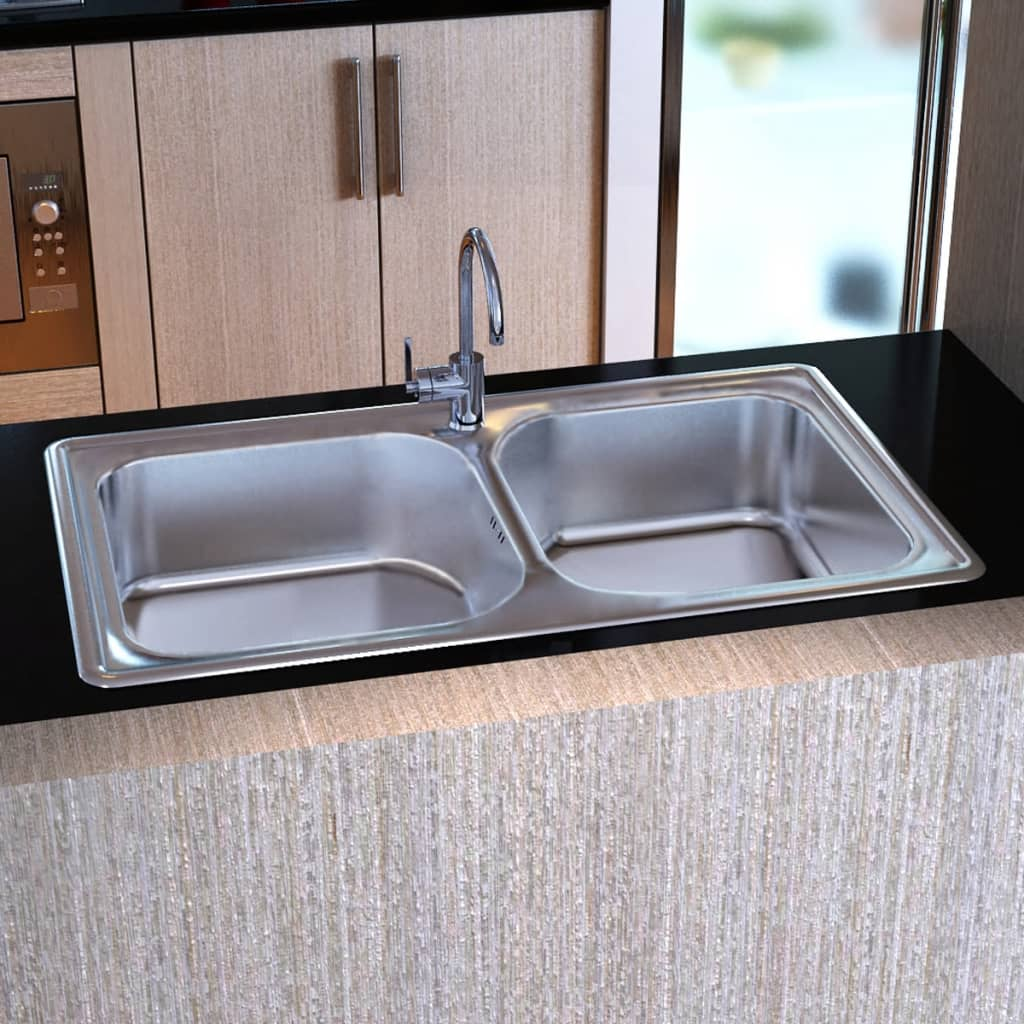 Square Kitchen Sink : vidaXL.co.uk Kitchen Sink Stainless Steel Square With Drain Double