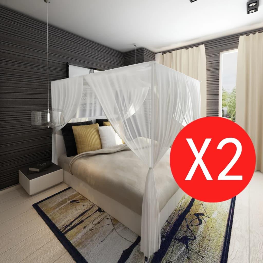 Dubbele klamboe muggennet voor bed vierkant 3 openingen (set van 2) muskietennet