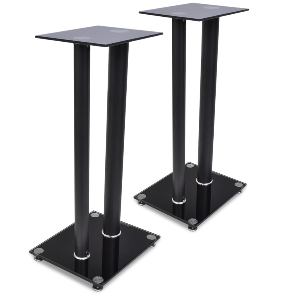 2 Pcs Glass Speaker Stand Each With 2 Black Pillars