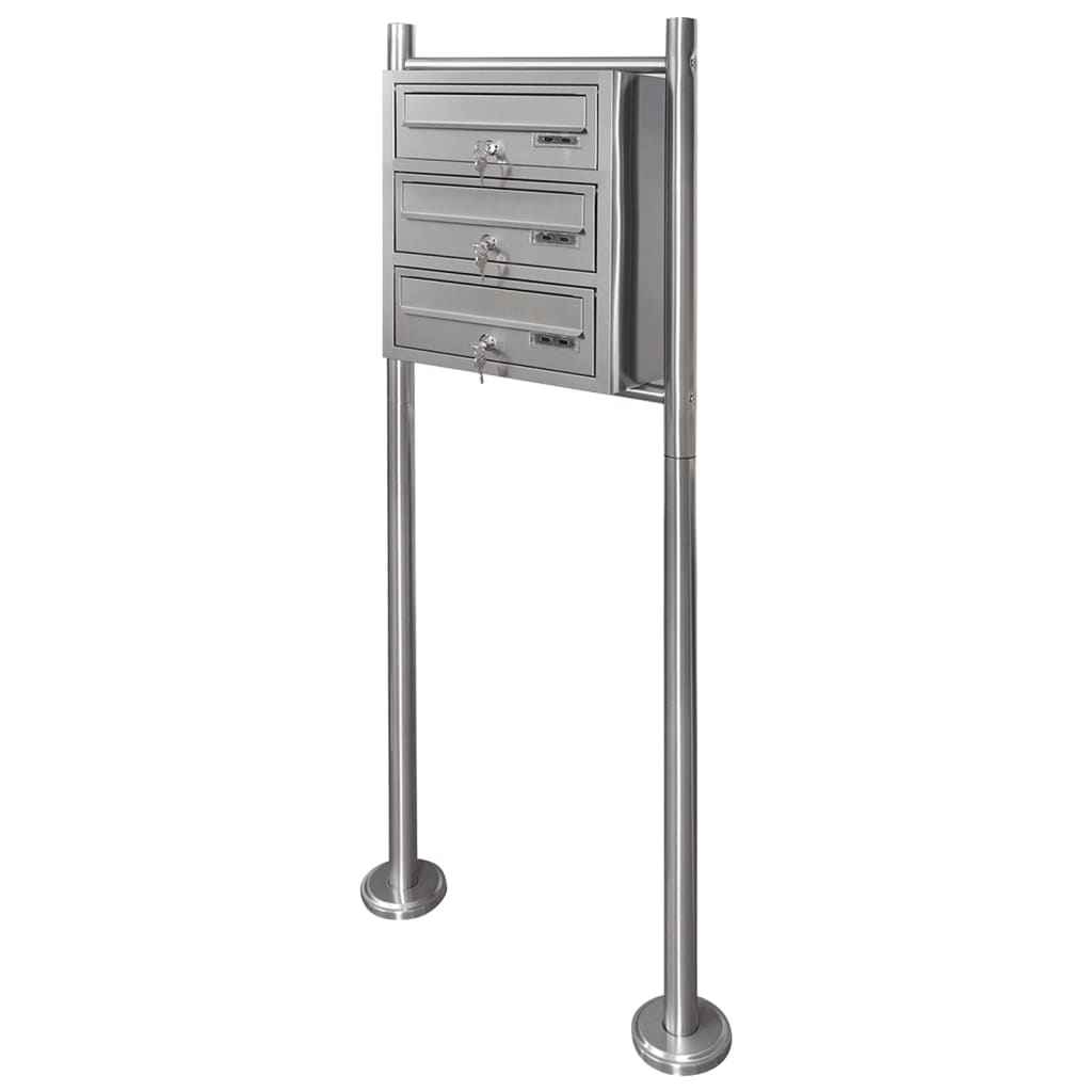 vida-xl-triple-mailbox-on-stand-stainless-steel
