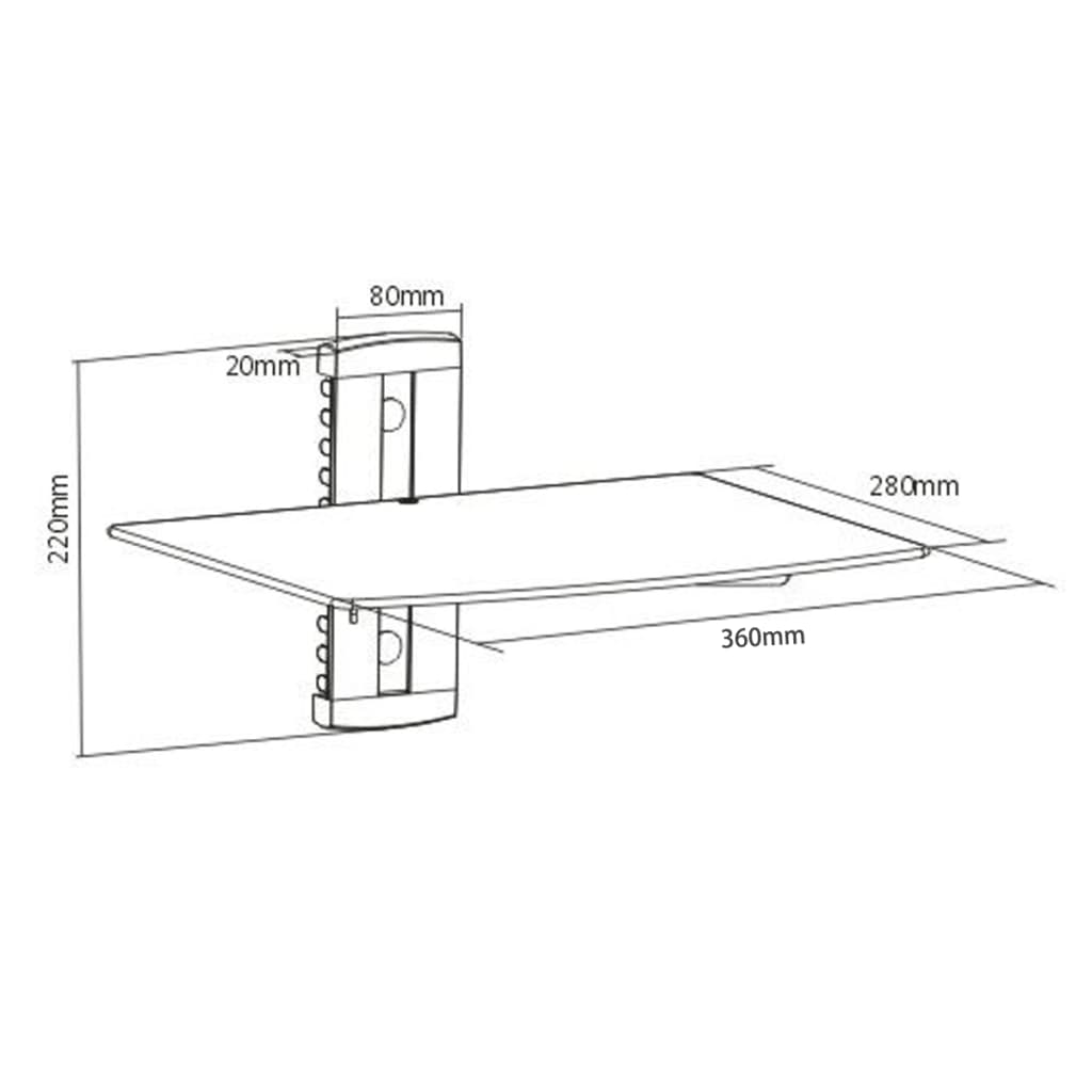 wandregal aus glas f r dvd 1 ebene schwarz g nstig. Black Bedroom Furniture Sets. Home Design Ideas