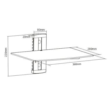 Wandregal aus Glas für DVD, 1 Ebene, Schwarz[6/6]