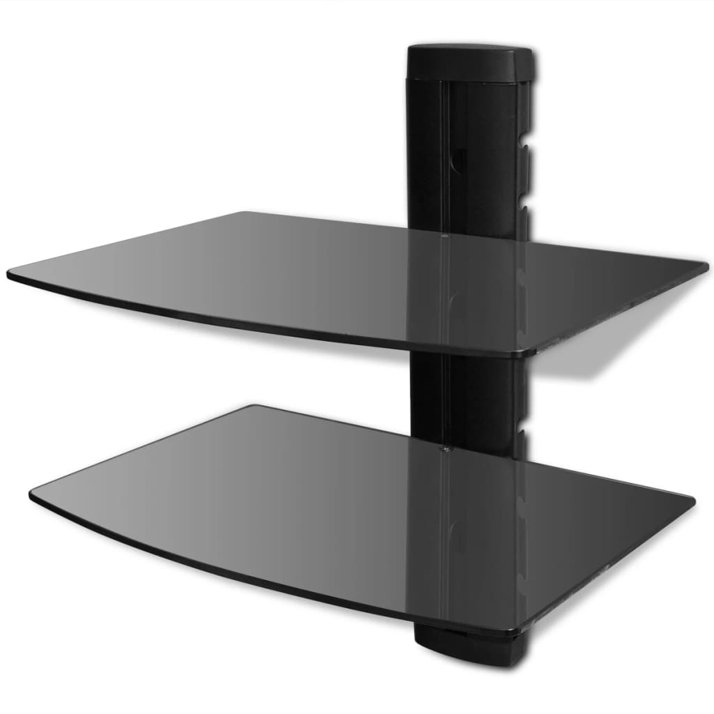 der wandregal aus glas f r dvd 2 ebenen schwarz online shop. Black Bedroom Furniture Sets. Home Design Ideas