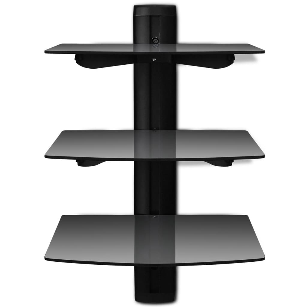 3 tier wall mounted glass dvd shelf black. Black Bedroom Furniture Sets. Home Design Ideas