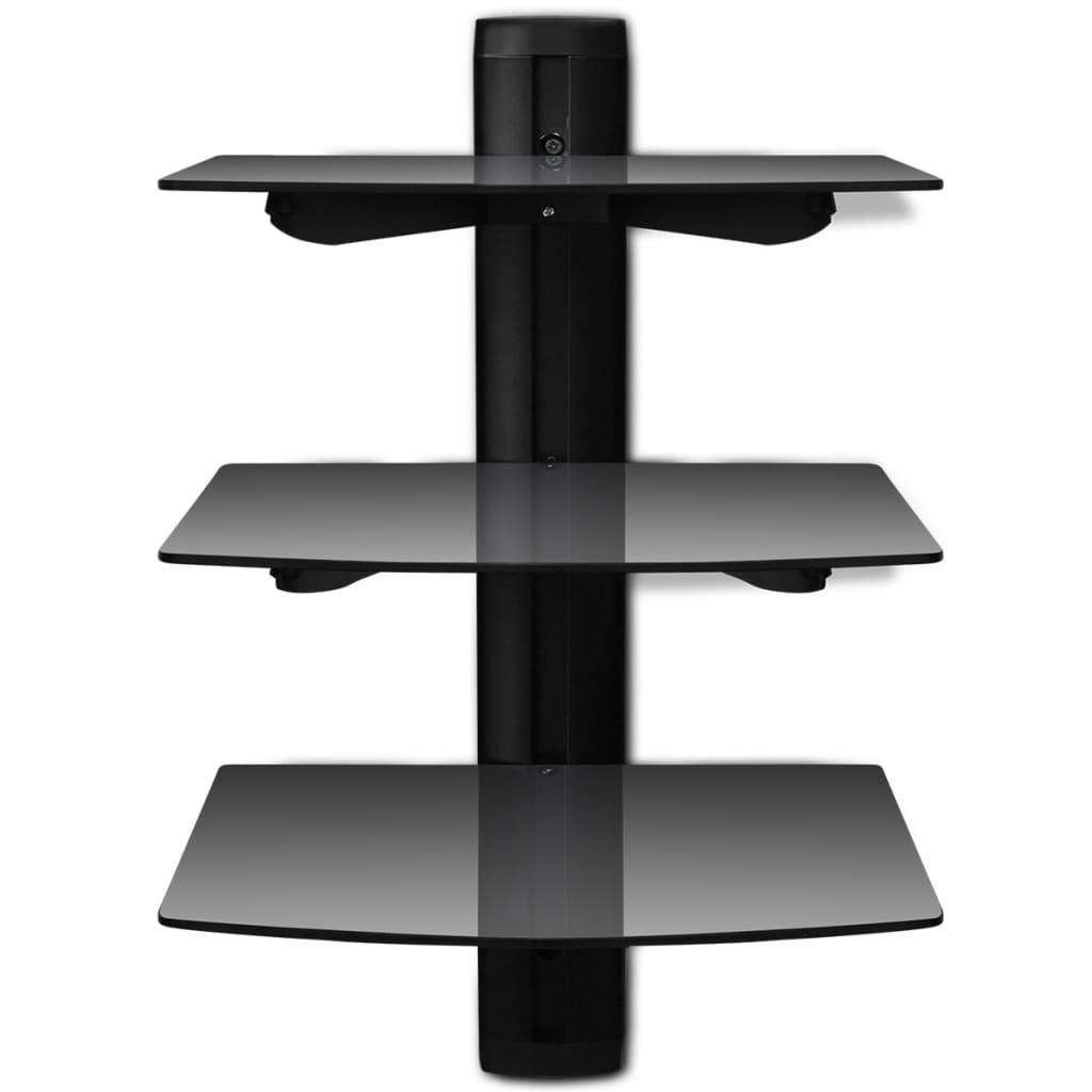 3 tier wall mounted glass dvd shelf black for Meuble home cinema