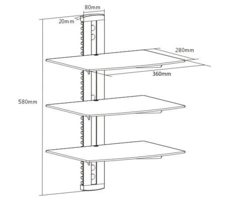 Wandregal aus Glas für DVD, 3 Ebenen, Schwarz[6/6]