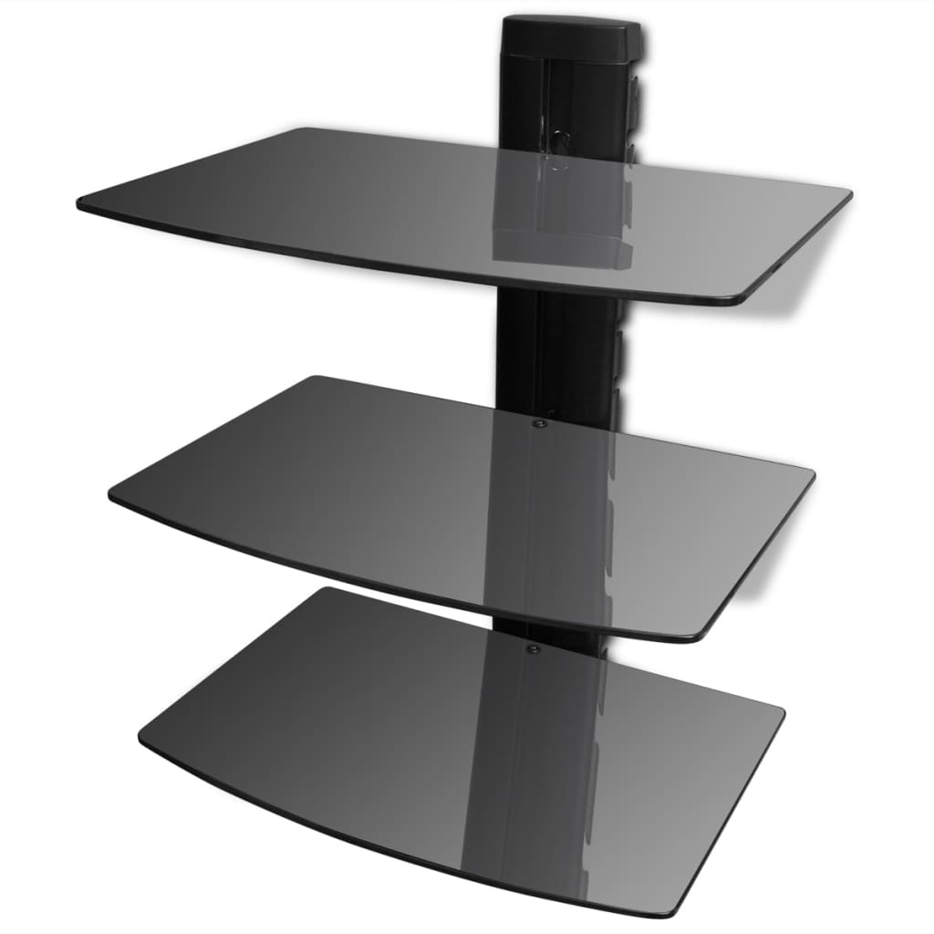 3 tier wall mounted glass dvd shelf black for Etagere murale avec rebord
