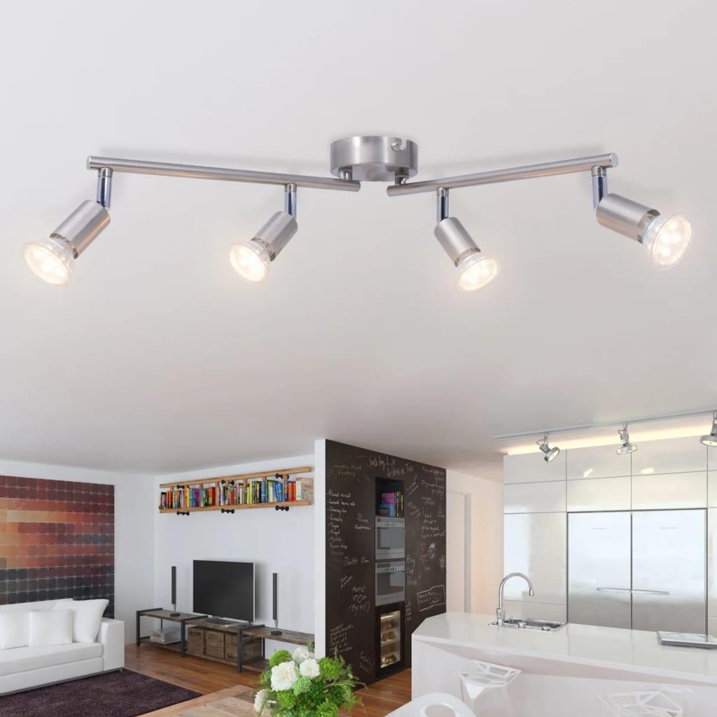vidaXL 4 LED-es spot mennyezeti lámpa selyemfényű nikkel