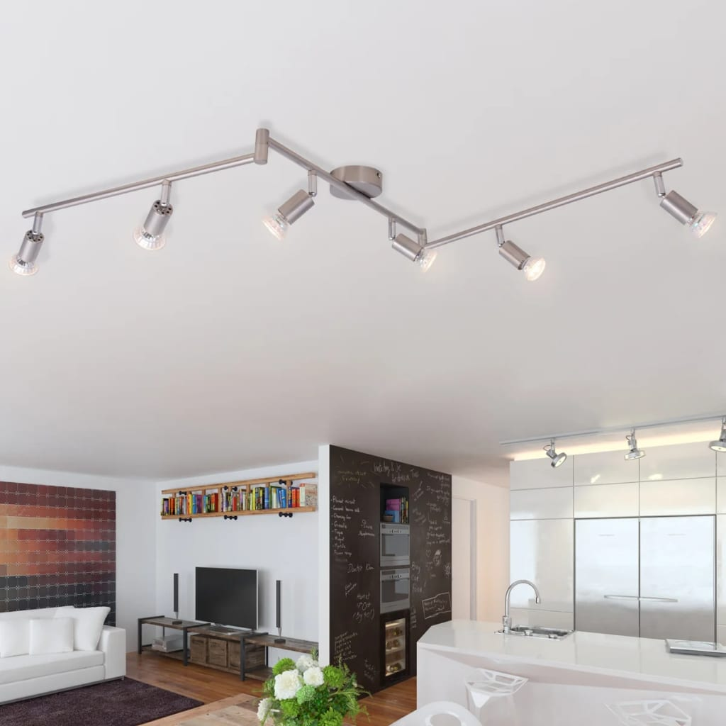 Vidaxl l mpara de techo con 6 focos led de n quel satinado for Lampara focos techo