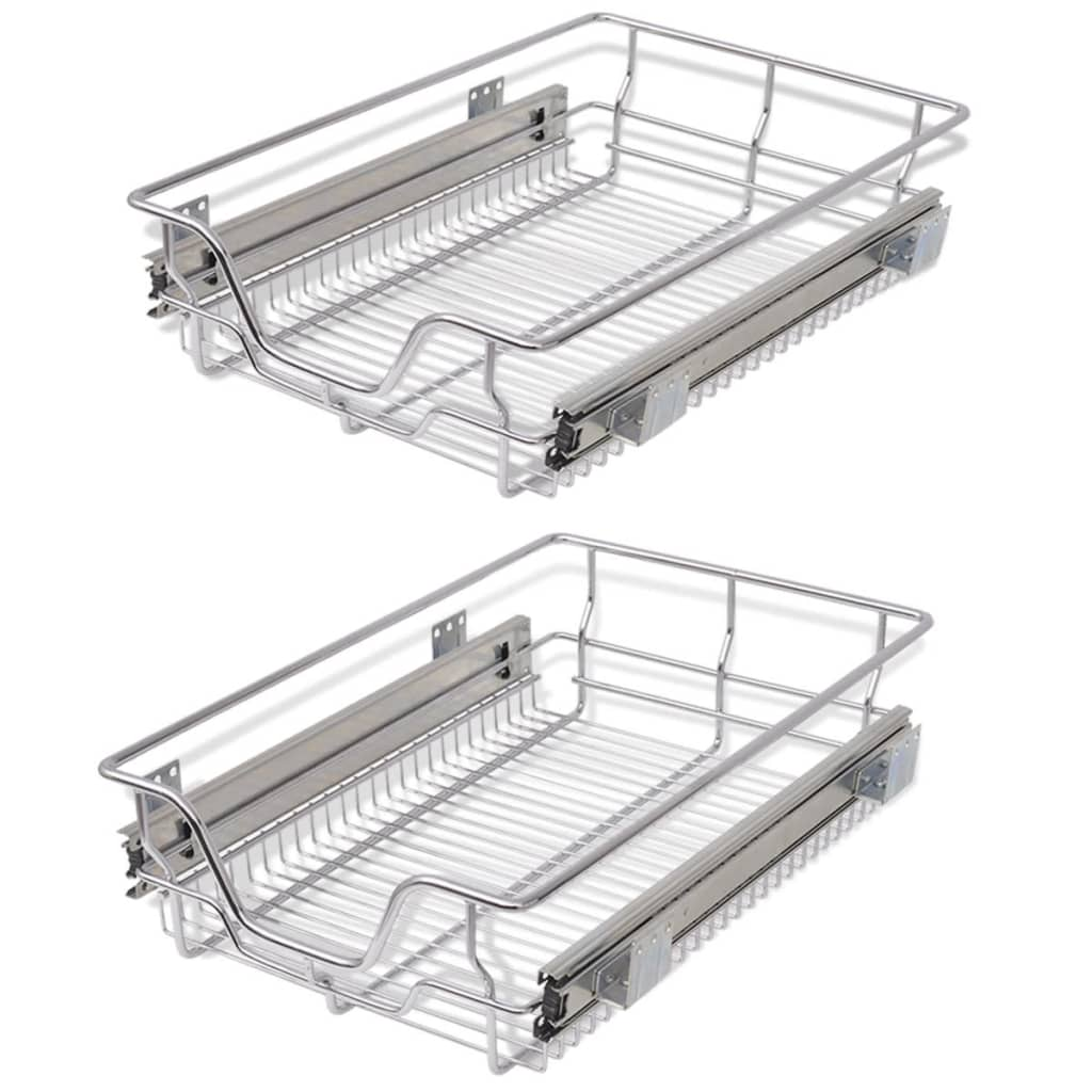 2 pcs Pull-Out Wire Baskets Kitchen Base Larder Units Storage ...