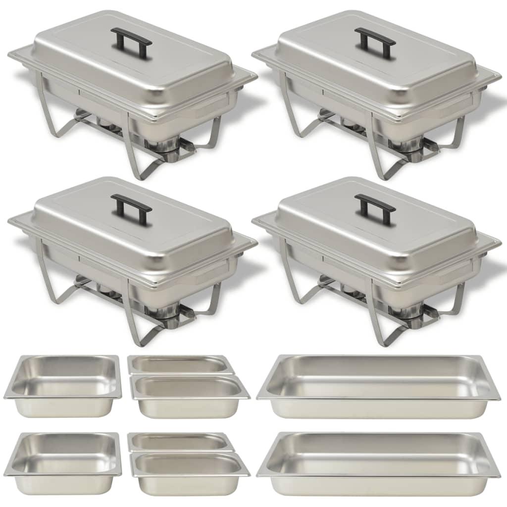 vidaXL 4 darabos rozsdamentes acél chafing készlet