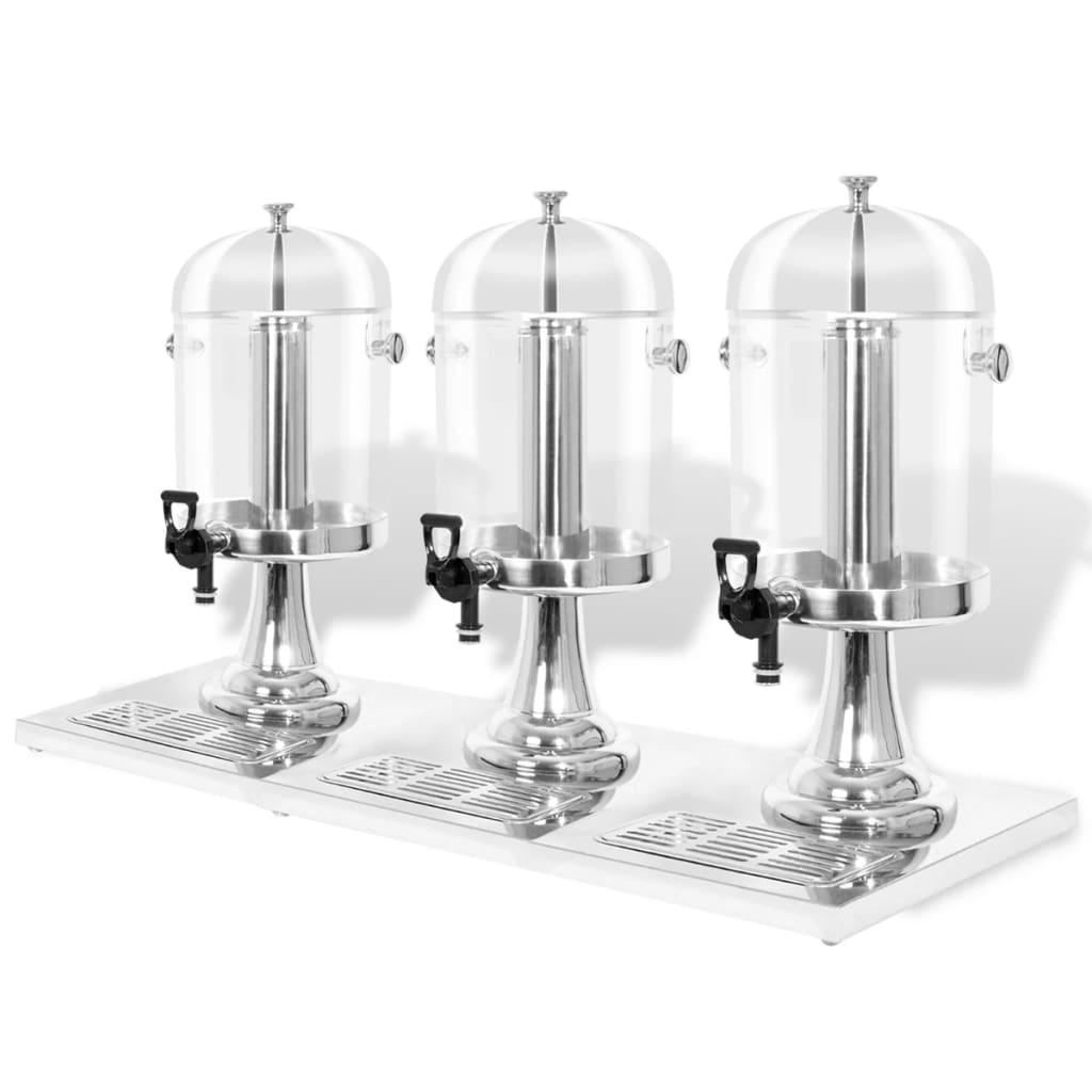 Afbeelding van vidaXL Drievoudige sapdispenser roestvrij staal 3x8 L