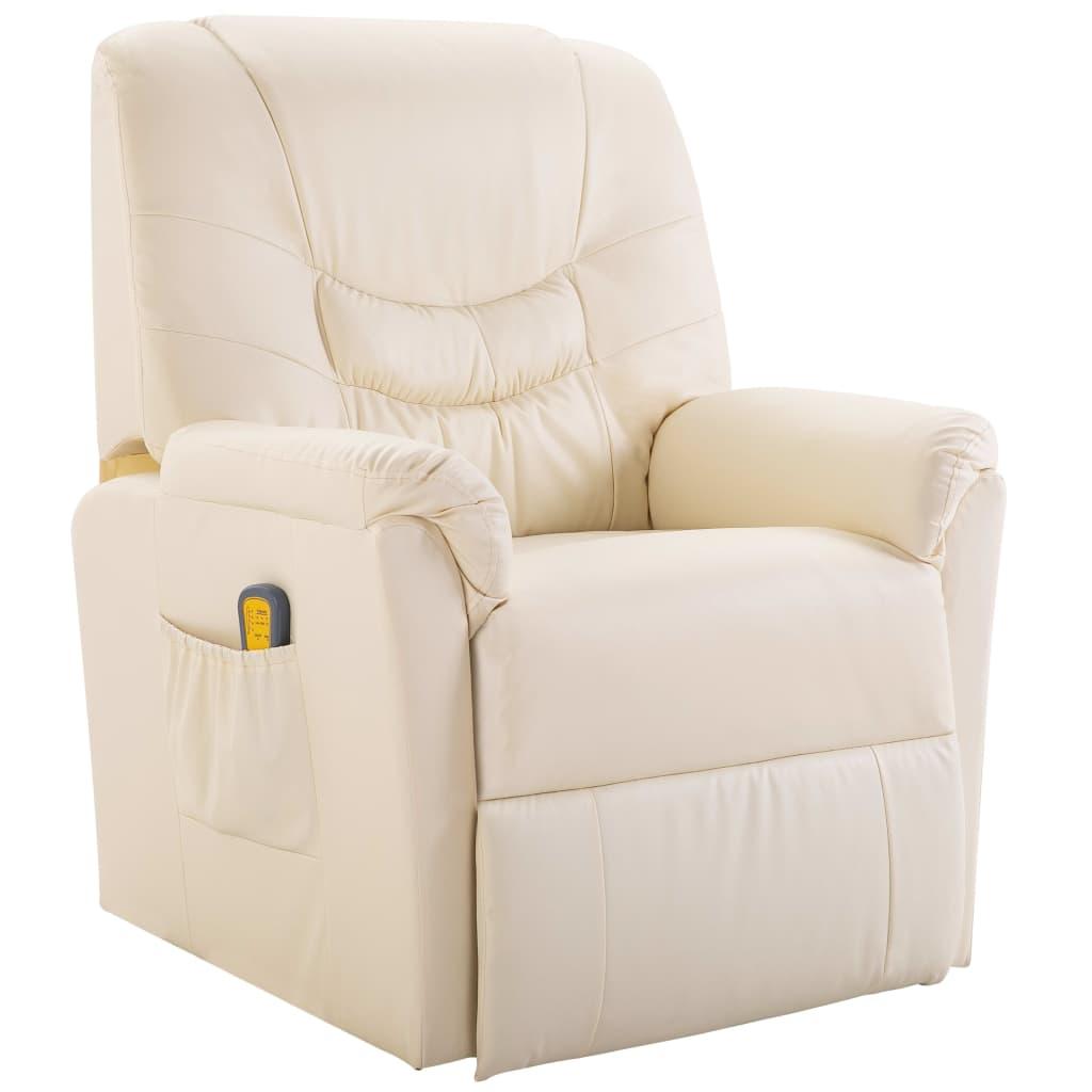 vidaXL Fotel masujący ze sztucznej skóry, kremowy