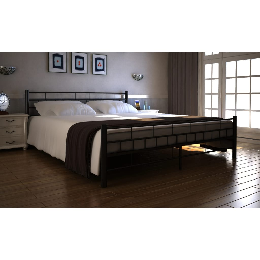 der bett doppelbett mit lattenrost 140x200 cm schwarz. Black Bedroom Furniture Sets. Home Design Ideas