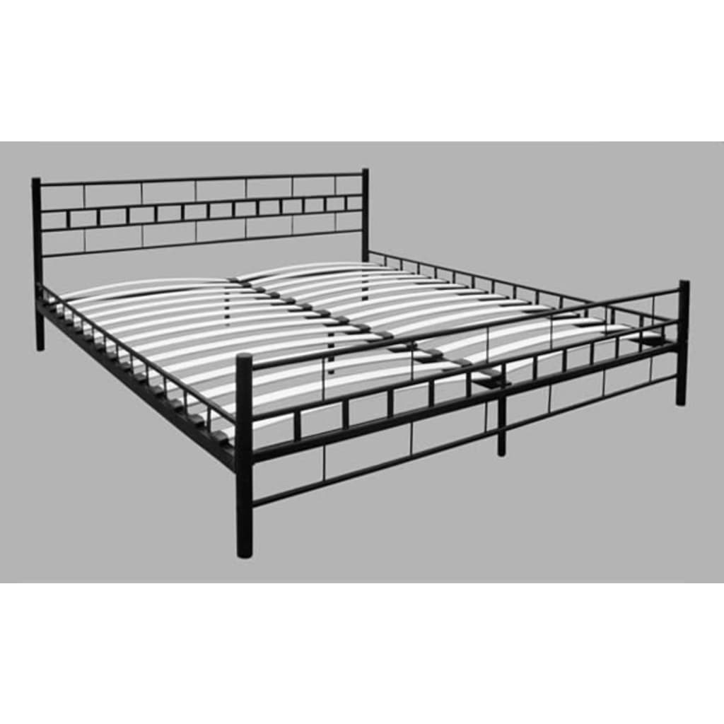 der doppelbett bett mit lattenrost 180x200 cm schwarz. Black Bedroom Furniture Sets. Home Design Ideas